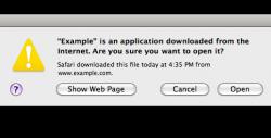 Отключение «Файл был скачен из интернета, все равно запустить?» в Mac OS X